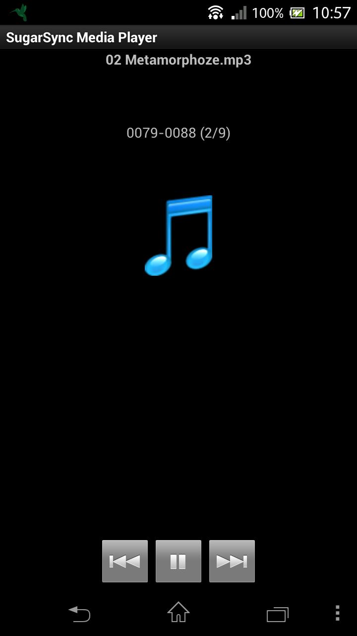 SugarSync 音楽ファイル再生中