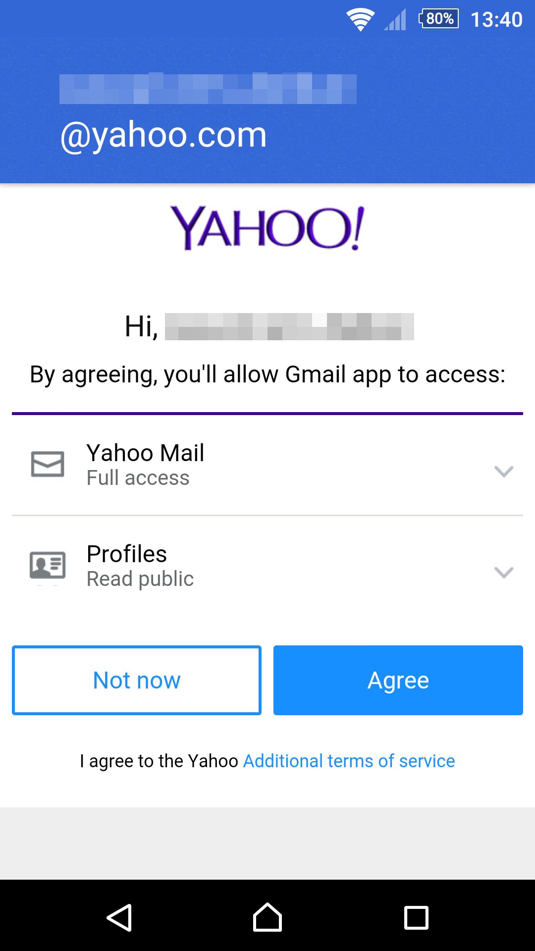 Android版 Gmailアプリ Yahooメールの追加許可画面