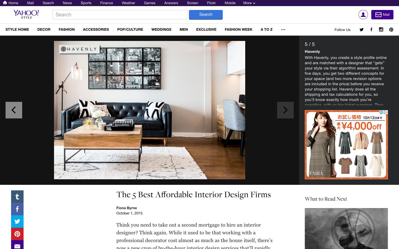 Yahoo! STYLE DECOR お手頃価格のインテリアデザイン会社ベスト5