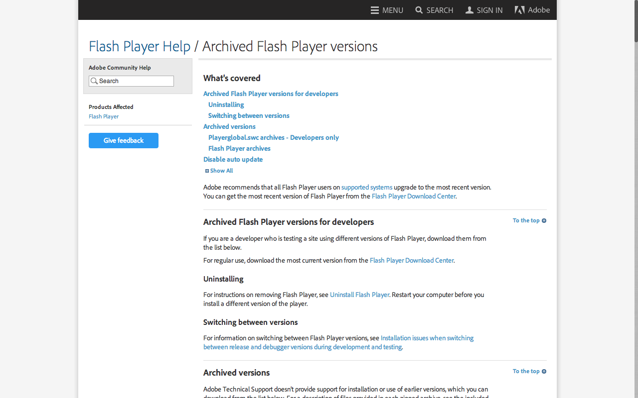 Adobe Archived Flash Player versions