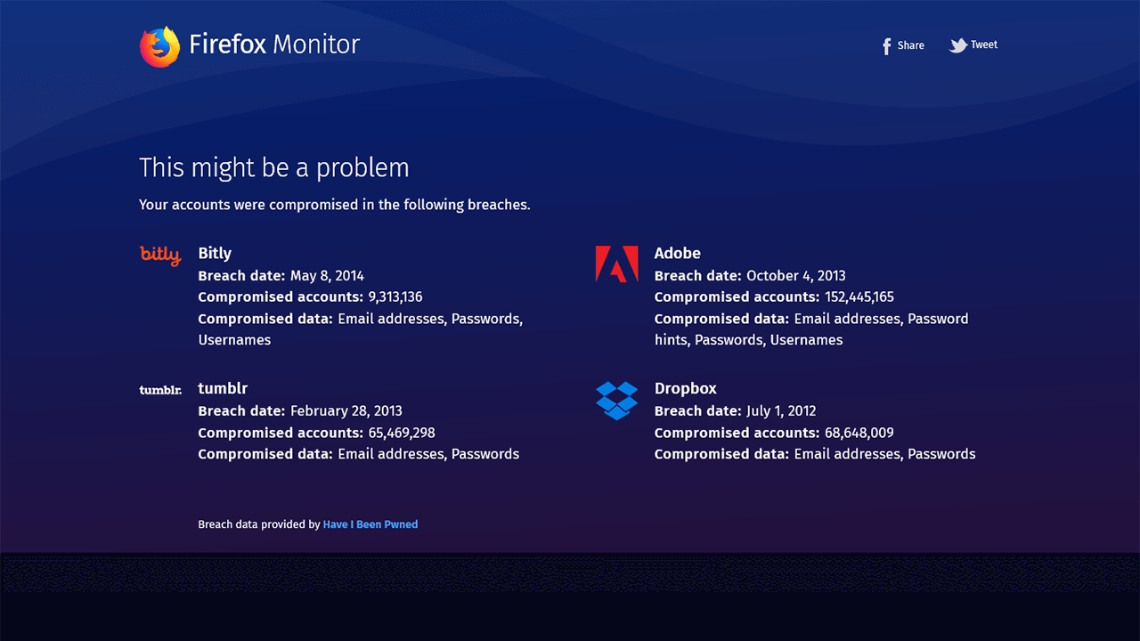 Firefox Monitor: might be a problem